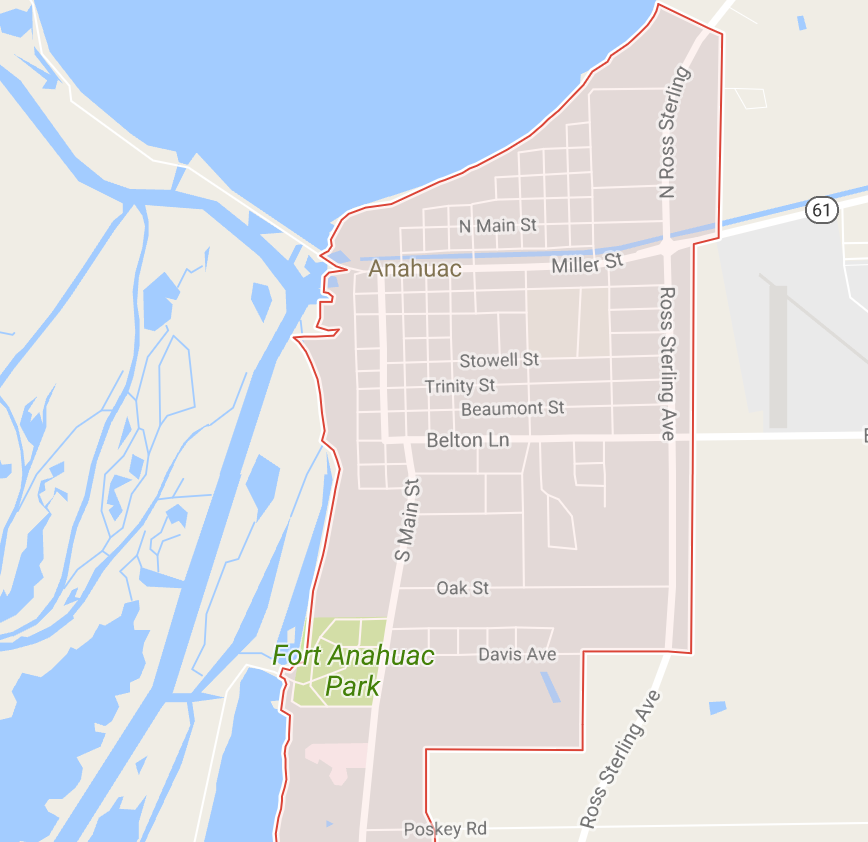 Map of Anahuac, Texas